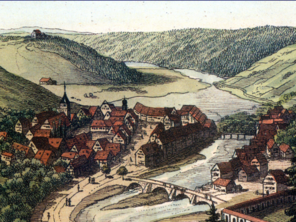 View of the town of Sulz and the Albeck castle after 1829 by Georg Ebner, Stuttgart